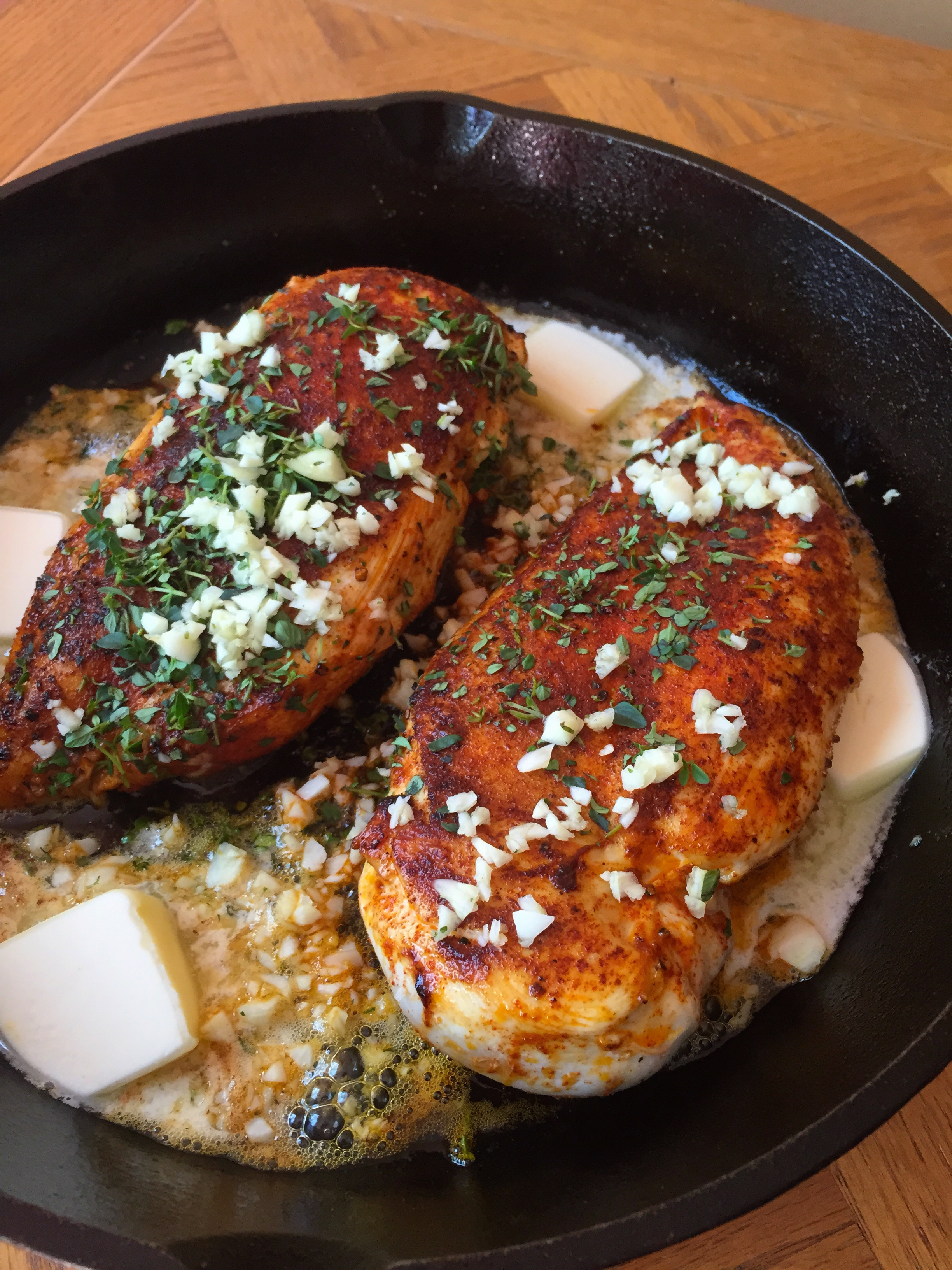 Paprika Chicken with White Wine Butter Thyme Sauce